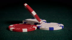 Poker chips spinning in slow motion Stock Footage