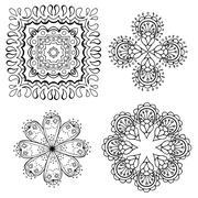 Geometric circular ornament set Stock Illustration
