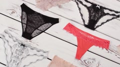 Selection of different panties. Stock Footage