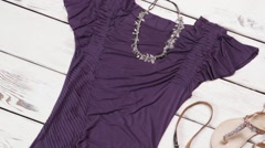 Dark purple dress and sandals. Stock Footage