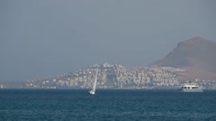 Panoramic view of greek island Stock Footage