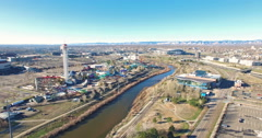 Aerial view of downtown Denver in early Spring. Stock Footage