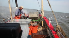 The cooked crabs on board of the shrimp boat checked again. Stock Footage