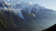 Paraglider French Alps Mont Blanc Chamonix, France 5K HD Stock Video Footage - stock footage