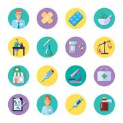 Pharmacy In Circle Icon Set - stock illustration