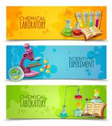 Scientific Chemical Laboratory Flat Banners Set Stock Illustration