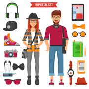 Hipster Couple Decorative Icons Set Stock Illustration