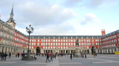 Tourist visiting the famous Plaza Mayor in Madrid Stock Footage