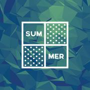 Summer low poly background. Underwater colors polygonal vector wallpaper - stock illustration