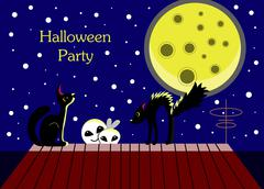 Halloween card with ghosts and a frightened cat. Moonlit Night. On the roof o Stock Illustration
