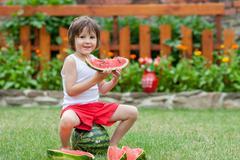 Boy, eating watermelon in the garden, summertime - stock photo