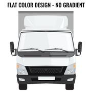 Vector small truck front side. Cargo delivery. Flat color - stock illustration