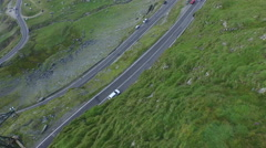 Aerial view over a small part of Transfagarasan road - stock footage