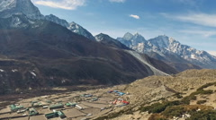 Pan view of stunning valley above Dingboche in Nepal Stock Footage