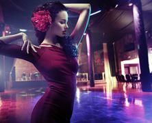 Closeup portrait of a woman dancing flamenco Kuvituskuvat