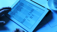 Online banking on tablet, cool toned - stock footage