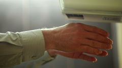 Drying hands after cleaning Stock Footage