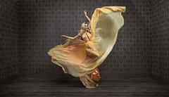 Gorgeous expressive blond lady wearing fabulous dress Stock Photos