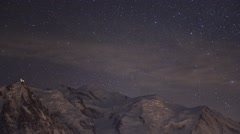 Timelapse at night over the Mont Blanc / The Alps Stock Footage
