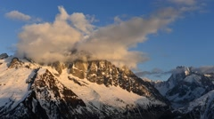 Time lapse with clouds over the Aiguille Verte / The Alps Stock Footage