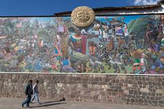 Inca painting in the streets of Cusco, Peru Stock Photos