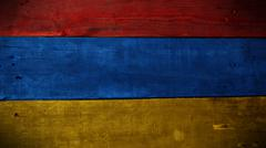 Armenian flag on wood Stock Photos