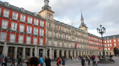 Plaza Mayor in Madrid, a major tourist landmark in central Madrid Stock Footage