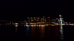 Sydney Darling Harbour at night from the sea - stock footage