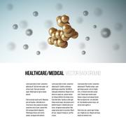 Medical scientific cell. Abstract graphic design of molecule structure, vector - stock illustration