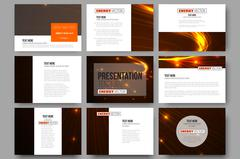 Set of 9 templates for presentation slides. Abstract lines background, dynamic - stock illustration