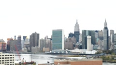 New York Manhattan from Queens Stock Footage