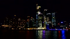 Sydney Darling Harbour at night from the sea Stock Footage