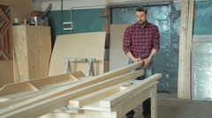 Production in the woodworking shop - stock footage