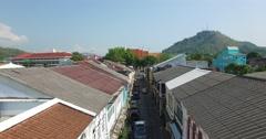 Descending aerial phuket town soi Stock Footage
