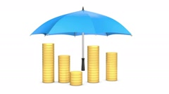 3d golden coins stacking up and coming under protection of an umbrella Stock Footage