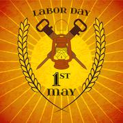 May 1st. Labor Day. Lantern and jackhammers - stock illustration