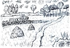 Rural Landscape Sketch Stock Illustration