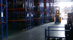 Large metal shelves at a modern warehouse Stock Footage