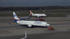 4k SunExpress Airline Boeing 737-800 ready start Airport Hamburg Stock Footage