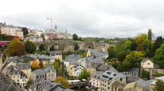 Time Lapse of Clouds passing over Luxembourg City - Europe Stock Footage