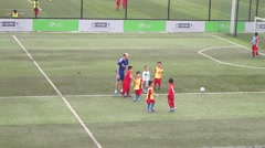 Chinese children in the training of football Stock Footage