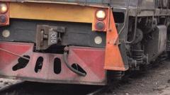 Lights riding a steam locomotive  Stock Footage