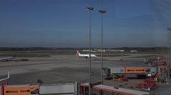 4k Germanwings aeroplane rolling to take-off runway Airport Hamburg Stock Footage