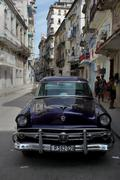 Classic old car in downtown Havana, Cuba - stock photo