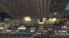 Manhattan traffic, overhead view from rooftop at night Stock Footage