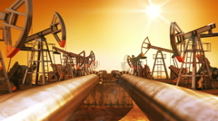 Moving at the Endless Pipeline and rows of Oil Pumps. Stock Footage
