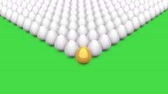 Unique leader golden egg among many white eggs Stock Footage