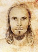 Interpretation of jesus christ portrait as young man Stock Illustration