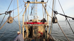 A shrimp boat at the North Sea Stock Footage