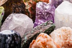 Semi-precious gems closeup Stock Photos